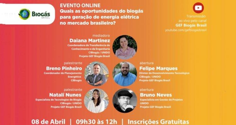 Evento online - Oportunidades do biogás para geração de energia elétrica no mercado brasileiro