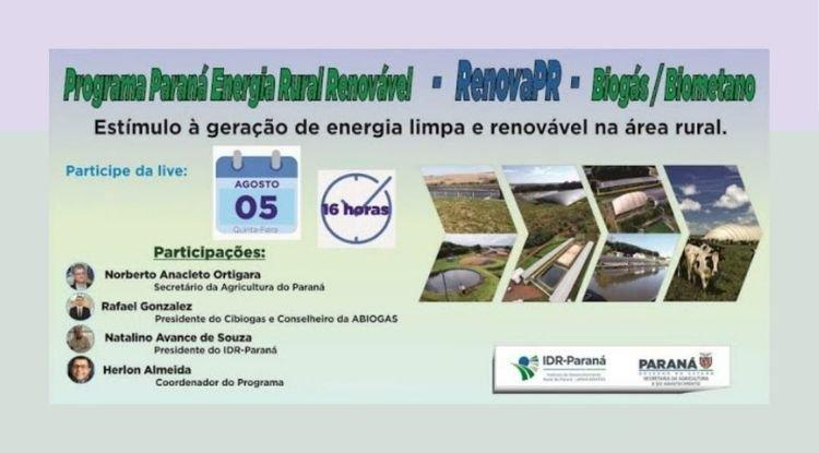 Webinar Programa Paraná Energia Rural Renovável - RenovaPR Biogás e Biometano