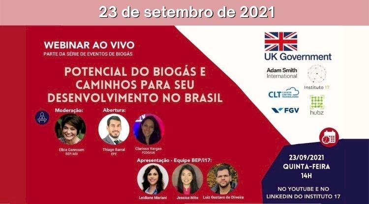 Webinar - Potencial de biogás e caminhos para seu desenvolvimento no Brasil