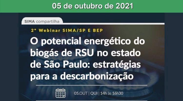 2º Webinar - O potencial energético do biogás de RSU no estado de São Paulo: estratégias para a descarbonização